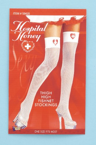 Forum Novelties Women's Hospital Honey Costume Fishnet Thigh Highs, White/Red, One Size