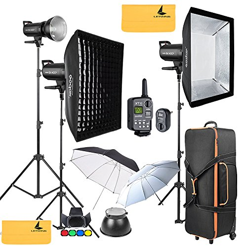 GODOX SK400II 1200W 2.4G Photography Flash Studio Strobe Kit Three 400w Sk400II Monolight Lighting,Includes 3X 400W SK400II Strobe Light+3X Light Stand+2X 60X90 CM Soft Box+2X Standard Reflector+XT-16