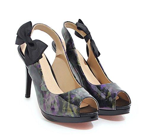 violett Pfennigabsatz Aisun Toe Schleife Damen Schleife Slingback Top Peep Low mit Plateau Sandale Grün 6pgpOq