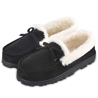 DL Women's Memory Foam Moccasin Slippers Micro Suede with Breathable Faux Fur Lining Slip On House Shoes Micro Indoor & Outdoor | Slippers