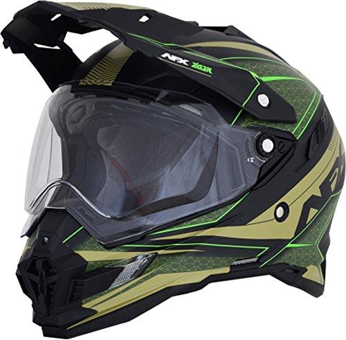 AFX 0110-5372 FX-41DS Matte Beige/Khaki/Neon Green Helmet (Green, Large)