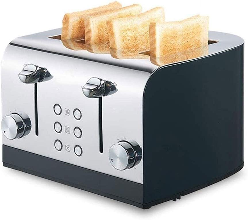 LYYJIAJU Toasters Long Slot Multifunctional Toaster,Household Toaster,Commercial 4 Piece Stainless Steel Toaster,Home Multi-Function Toast,Breakfast Thawing Toaster (Color : Black)