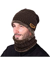 2-Pieces Winter Beanie Hat Scarf Set Warm Knit Hat Thick Knit Skull Cap for Men Women
