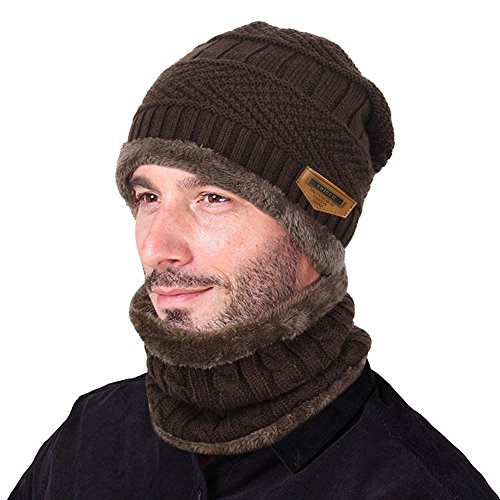 - VBIGER Beanie Hat Scarf Set Knit Hat Warm Thick Winter Hat For Men (Coffee)