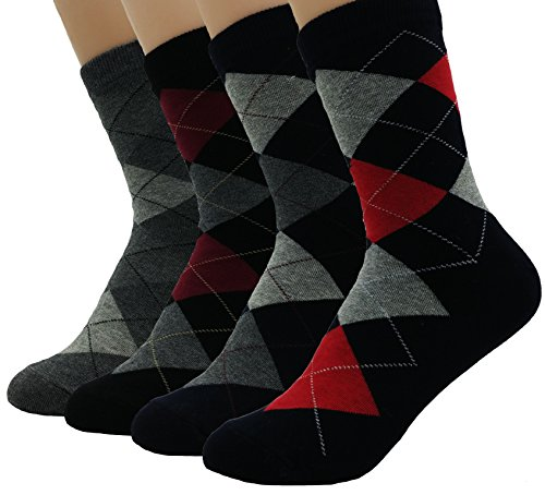 JJMax Women's Basic Short Crew Cotton Blend Argyle Comfort Socks, Dark and Bold, One Size