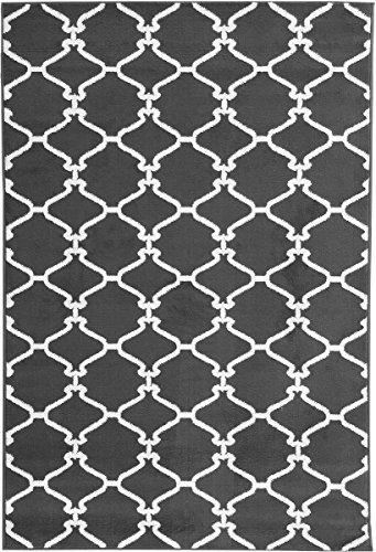Sweet Home Stores Clifton Collection Light Grey Moroccan Trellis Design (5' X 7') Area Rug