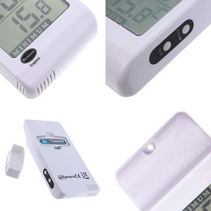 Bianco colore Brannan Termometro digitale max//min per serre