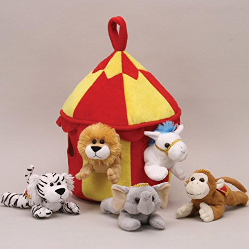 Plush Circus Animal House with Animals - Five (5) Stuffed Circus Animals ( Horse, Monkey, Elephant, Lion, Tiger) in Play Circus Tent -