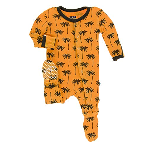 Kickee Pants Little Boys Print Footie with Snaps - Apricot Palm Trees, 3T