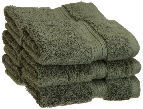 Superior 900 GSM Luxury Bathroom Face Towels, Made of 100% Premium Long-Staple Combed Cotton, Set of 6 Hotel & Spa Quality Washcloths - Forest Green, 13