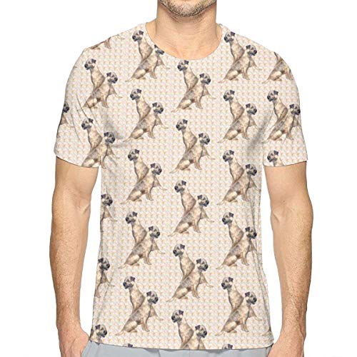 TNIJWMG Border Terriers and Paisley Men's Short Sleeve T-Shirt White ()