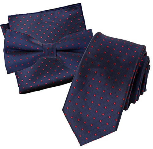 Flairs New York Collection Neck Tie (Prussian Blue / Red Wine [Polka Dots]) (Prussian Dot)