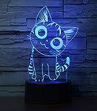 Cherish tea Cat Lamp 3D Illusion Night Lights for