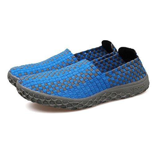 Hombres Zapatos casuales Verano Moda portátil Respirable Tejido Sandalias Blue