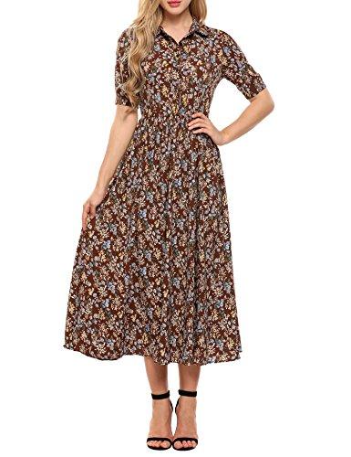 Women's Short Dress Brown Sleeve Floral Style Maxi Long ACEVOG Print Vintage 7q67Td