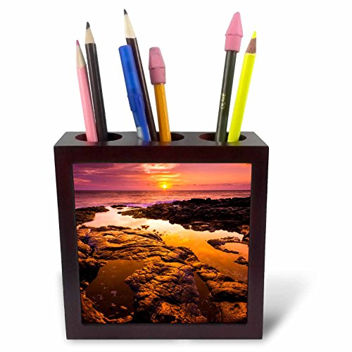 3dRose Danita Delimont - Sunsets - Orange Sunset and tide pool above the Pacific, Kailua Kona, Hawaii - 5 inch tile pen holder (ph_278947_1) by 3dRose
