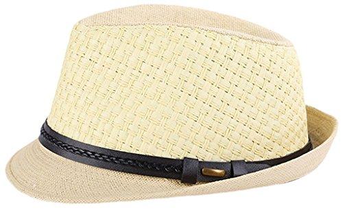 La vogue-Uomo Donna Jazz Cappello Panama Paglia Berretto Intrecciato Cachi   Amazon.it  Abbigliamento 89ba022af165