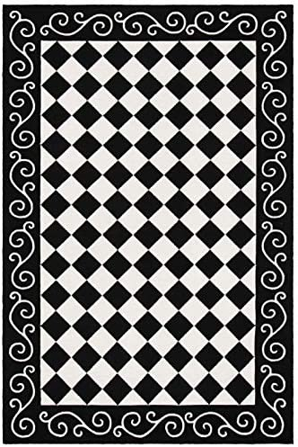 Safavieh Chelsea Collection HK711A Hand-Hooked Black and Ivory Premium Wool Area Rug 8 9 x 11 9