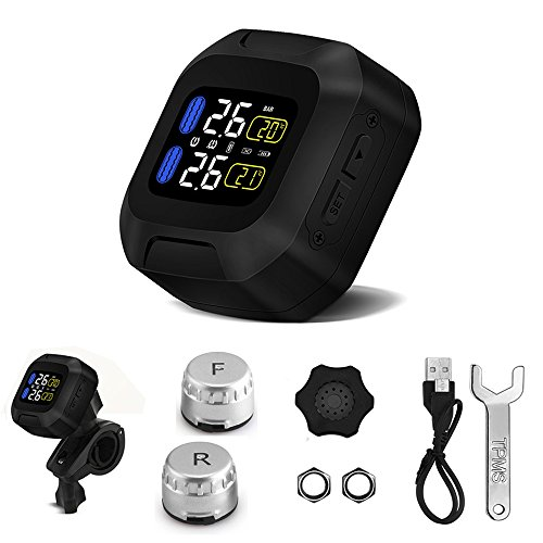 (Sunsbell Tire Pressure Monitor System TPMS Sensor Temperature Alarm LCD Display with 2 External Sensors for 2 Tires Motorcycle, Black(Mortorcycle - External Sensors))