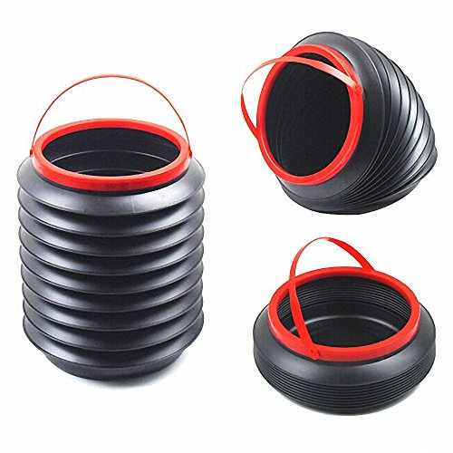 3RXKSZ Luckycyc Collapsible Fishing Bucket Portable Folding Water Container for Car Outdoor Camping Collapsible Bucket 4L(Black)