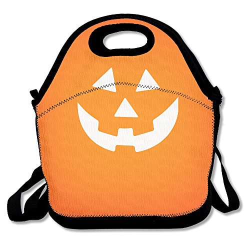 KKWODWCX Halloween Pumpkin Face Water Resistant Portable Lunch Bag Carry Case Tote With Zipper Cooler Container Bags Picnic Outdoor Travel Fashionable Handbag Pouch For Women Kids Girls (Halloween Pumpkin Cooler Dry Ice)