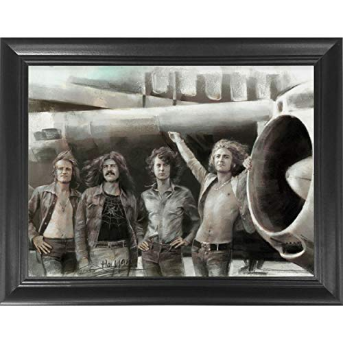 Led Zeppelin Classic Rock Band Framed 3D Lenticular Poster - Jimmy Page, Robert Plant, John Paul Jones & John Bonham - 14.5x18.5 - Life Like 3D Art Picture, Cool Art Deco, Unique Wall Art Décor