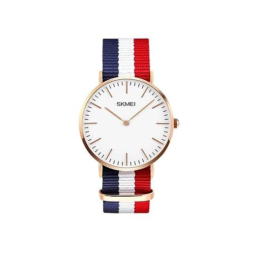 iWatch Hombre Mujer Reloj De Pulsera 30 m Resistente al agua analógico de cuarzo Casual reloj con azul blanco rojo textil pulsera: Amazon.es: Joyería