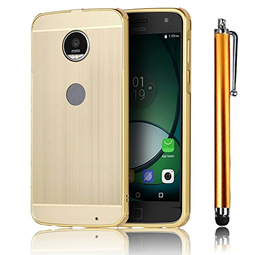 MOTO Z Play Funda, Bonice Premium Luxury Ultra Elegante Metal Aluminum Frame Hard PC Back Carcasa [Touch Pen] - Metal oro Metal oro