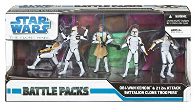Star Wars Clone Wars Exclusive Action Figure Battle Pack Obi-Wan Kenobi and 212th Attack Battalion Clone Troopers
