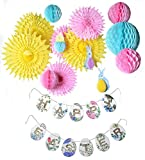 PAPER JAZZ happy Easter banner party home decoration photo pros booth back drop kit with paper fan pompom flower honeycomb ball (GLITTER BANNER)