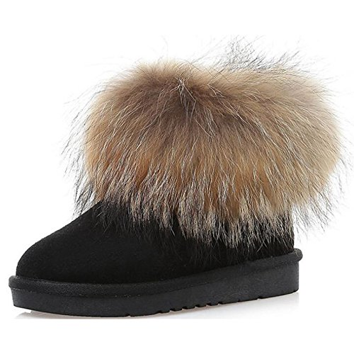 Heel Fur Booties Nubuck Snow Toe Grey Women's Comfort leather Shoes Shoes Winter Feather HSXZ Low Fall Boots Boots ZHZNVX Round Boots For Ankle Walking xZnwAt