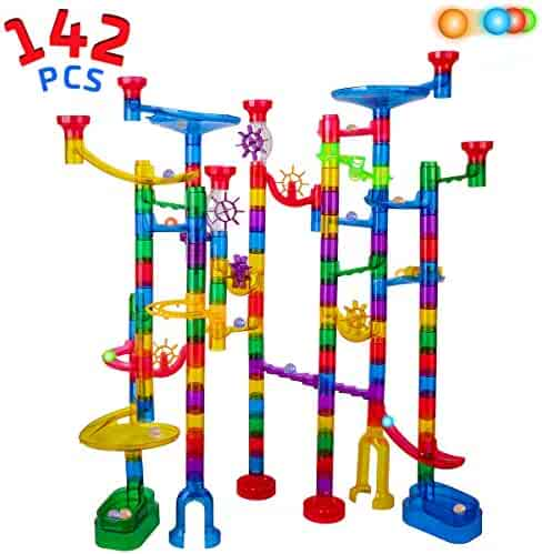 Marble Run Sets for Kids - 142 Complete Pieces Marble Tracks Marble Maze Game STEM Building Toy for 4 5 6 + Year Old Boys Girls(113 Pieces + 25 Glass Marbles + 4 Led Lighted Marbles)