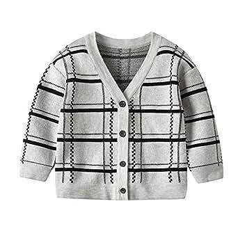 Xifamniy Infant Baby Long Sleeve Sweater Plaid Element Cotton Fashion Cardigan Coat Gray