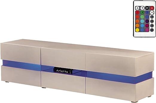 Habitat et Jardin - Mueble para TV de color blanco lacado con LED, Modelo Vida, 177 x 39 x 45 cm: Amazon.es: Jardín