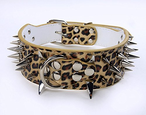 Benala Dog Pet Collars Pu Leather Rivet Spiked Adjustable Dog Collar Buckle Neck Strap Studded Dog Collars Pet Accessories Pit Bull, Boxer, Bull Terrier,Gold Leopard,L