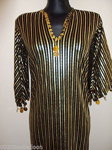 Mens Belly Dance Costumes (Egyptian Belly Dance Costume NANCY Stretchy Galabeya Dress Costume Baladi Saidi (Black x Gold))