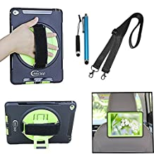 Cellular360 Shockproof Case for Apple iPad Air 2 , Car Headrest Mount Case with 360 Degree Swivel Stand, Handle and Shoulder Strap (Black/Green)