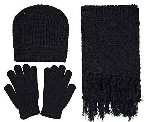 Women's 3 Piece Winter Set - Knitted Beanie, Scarf, & Gloves,Black (3 Piece Winter Gloves)