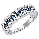 0.45 Carat (ctw) 10K Gold Round Cut Blue & White Diamond Ladies Vintage Anniversary Wedding Band 1/2 CT