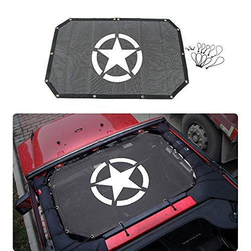 - Jeep Wrangler JK Bikini Mesh Sun Shade Half Top Cover with Logo Army Star Logo For Jeep JK 4 Door or 2 Door (2007-2017)