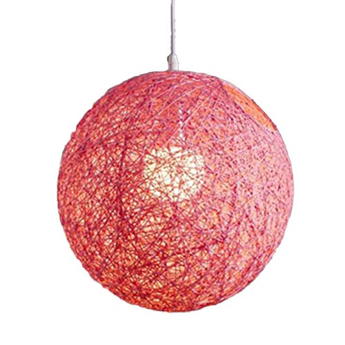 YOTHG Rattan Ball Lampshade,Modern Lattice Wicker Rattan Globe Ball Style Ceiling Pendant Light Round Lamp Shade Lampshade Home Dining Decoration Lamps Lamps (30cm,Pink)