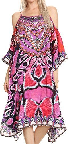 Sakkas P14 - Amaya Loose Fit Long Printed Strappy Cutout Shoulder Boat Neck Kaftan Dress - 17013-Purple/Fuschia - OS