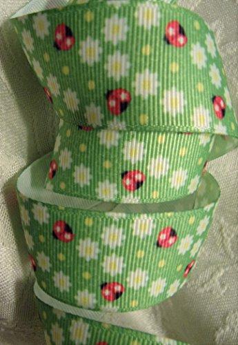 Grosgrain Ribbon Ladybug and Floral Print - 7/8