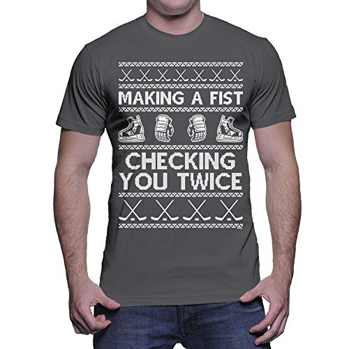 HAASE UNLIMITED Men's Making A Fist Checking You Twice T-Shirt (Charcoal, Large)]()