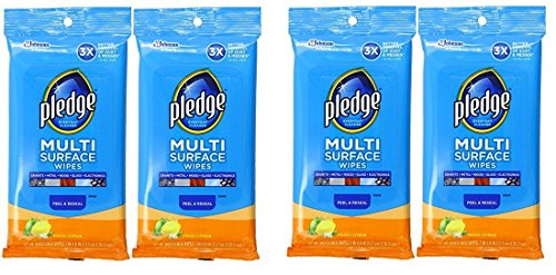 Pledge Multi Surface Everyday Wipes Fresh Citrus, 25-Count Packaging May Vary (Pack of 4) ()