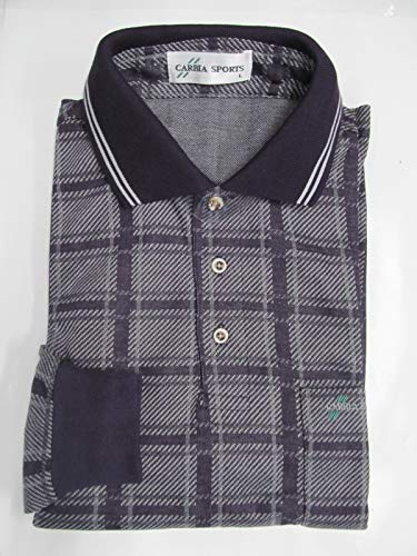 ポロシャツ 長袖 ウール混 (CARBIA SPORTS) Lサイズ ネイビーチェック柄-004-1 ゴルフ