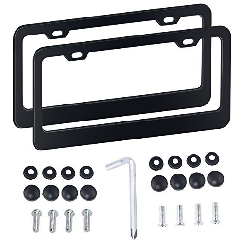 (aphqua Black License Plate Frame with Chrome Screw Caps, 2 Pcs Holes Stainless Steel Car Licence Plate Covers for US Vehicles)