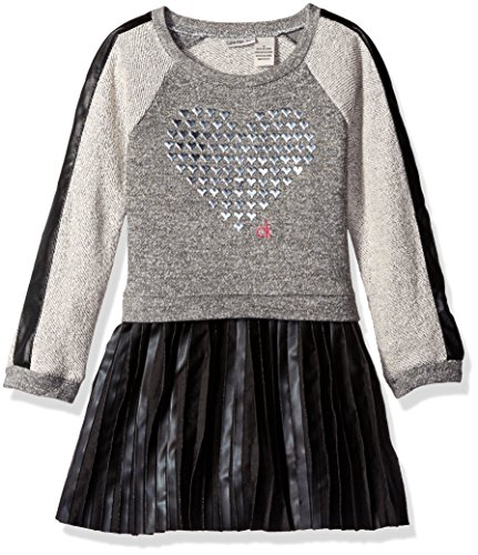 (Calvin Klein Little Girls' Toddler French Terry Body with Pleather Skirt, Gray/Black, 4T)