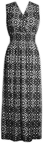 Maxi Black V Printed Dresses Geometric Dress Pattern Neck Livativ Floral 7w4vqOO