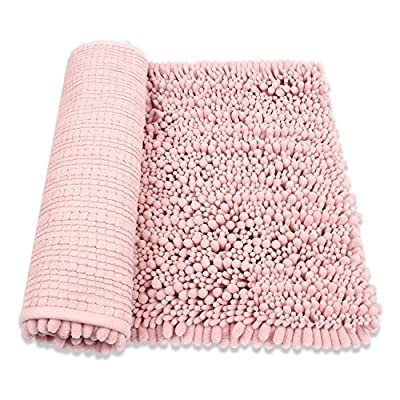 "HomDSim 30"" x 20"" Shaggy Bathroom Bath Shower Rugs Mat Carpet Floor Non-slip Soft Chenille Plush Absorbent Luxury Microfiber Bristles Washable Kitchen Laundry Rug Bedroom Blanket - ■Size:18x28 inches(Fully expanded the Shaggy villus to size 20x30 inches), Thickness: 1.2 inch.There may be 1-3cm error, please understand.100% Microfiber Chenille, bottom low is non- slip material. ■ Against The Moisture. This is just what you need to protect your feet from the cold floor at the same time you protect your bathroom floor from moisture.Wide Versatility. This is a multifunctional rug. Put them in living room to sit, outside of bathroom to absorb water, in the entry way to keep the dust away from your house. ■ Super Soft and Dries Quickly.The chenille fabric microfiber bathroom rug is designed to quickly absorb water, keeping your bathroom floors dry and clean. The mat's construction, with thousands of individual microfiber shags, allow the water held in the mat to dry quickly, leaving the mat smelling and feeling clean, dry. The Sturdy design will keep the mat looking the same even after you just got out of the shower. - bathroom-linens, bathroom, bath-mats - 514o5ttgJxL. SS400  -"